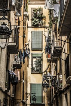 El Raval Life with its windows and balconies, Barcelona, Catalonia Photo Victor Alexandre