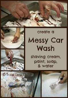 When the weather is icky outdoors create in indoor messy car wash for hotwheels!  A simple set up for some creative play.