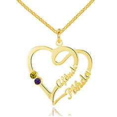 Post Included Aus Wide and to most international countries! >>>  Double Heart Loop Name & Birthstone Necklace - 925 Sterling Silver with Gold Plating