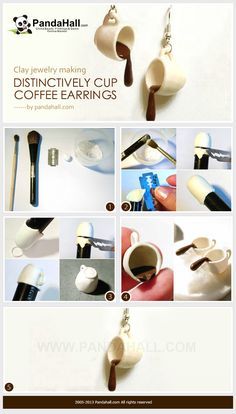 Simple molding skills we are to teach you will help you create a pair of lovely coffee cup earrings! This clay jewelry making tutorial is a great marvel. Polymer Clay Kunst, Polymer Clay Miniatures, Fimo Clay, Polymer Clay Projects, Polymer Clay Charms, Polymer Clay Creations, Polymer Clay Earrings, Clay Crafts, Polymer Clay Tutorials