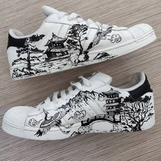 This limited / hype custom adidas stan smith shoe is handmade and hand painted with acrylic paints it is both a men's and women's sneaker. Custom Painted Shoes, Custom Shoes, Sneakers Fashion, Shoes Sneakers, Sneakers Adidas, Shoes Jordans, Stan Smith Shoes, Nike Air Shoes, Aesthetic Shoes