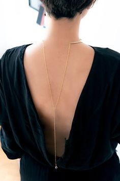 Back Necklace, Gold Back Jewelry, Dainty Necklace, Drop Necklace, Y Necklace