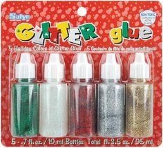 Glitter Glue, .7 Ounces, 5/Pkg - Christmas  $3.90