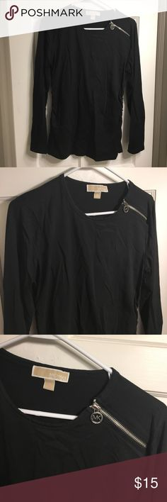 Fitted Long Sleeved Shirt Black fitted long Sleeved shirt, with shoulder zippered embellishment. Excellent condition. Michael Kors Tops