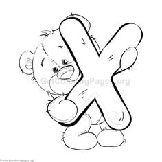 Teddy Bear Alphabet Letter X Coloring Pages