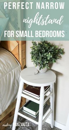 How To Upcycle A Bar Stool Into A Narrow Bedside Table - Looking for the perfect narrow nightstand for small bedrooms? Consider flipping an old bar stool in - Narrow Nightstand, Diy Nightstand, Bedside Table Ideas Diy, Tall Bedside Tables, Upcycle Bedside Table, Painted Bedside Tables, Nightstands, Wood Bar Table, Small Bedrooms