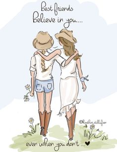 Items similar to Best Friend Illustration Best Friends Believe In You. Art for Women - Quotes for Women - Art for Women - on Etsy Girl Friendship, Friendship Quotes, True Friends, Best Friends, Rose Hill Designs, Elephant Sketch, Happy Birthday Ecard, Animation, Friends Forever