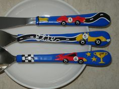 Racing Cars, Children's Personalized Name Cutlery Set, Blue Red Yellow Polymer clay Fork and Spoon, Kids Cutlery, Personalized Gift For Boys by PetitArtStudio on Etsy