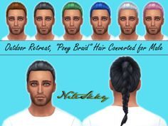 """Converted the """"Pony Braid"""" hair from Outdoor retreat for male Sims. Teen to Elder, stand alone. Tested in game. Available in all 18 original Maxis/EA TS4 colors. :) 