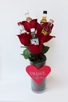 best ideas about Alcohol Bouquet Alcohol Gift Baskets, Valentine's Day Gift Baskets, Alcohol Gifts, Liquor Gift Baskets, Valentines Day Baskets, Valentines Day Gifts For Him, Valentine Day Crafts, Printable Valentine, Homemade Valentines