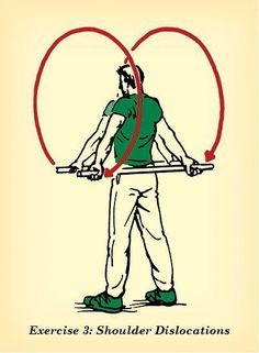 Calma! Você não precisa realmente deslocar os ombros com esse exercício É muito fácil, você só precisa de um cabo de vassoura. Segure-o na sua frente, separando as mãos o máximo que puder. Devagar e com muito cuidado, levante acima da cabeça e gire o ombro, abaixando-o até a altura do quadril. Depois, volte à posição original. Faça a sequência 10 vezes.