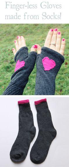 So smart! Finger-less Gloves made from Socks! Umm, Duh!