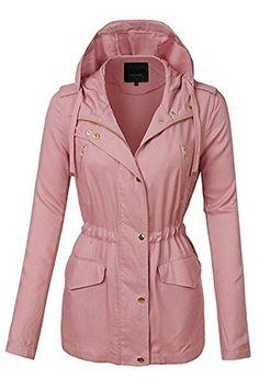 c36b03009402 Fashion Boomy Womens Zip Up Military Anorak Jacket W/Hood at Amazon Women's  Coats Shop