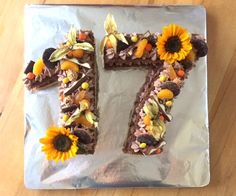 Zahlentorte (Numbers cake)   Küchenmomente 17 Birthday Cake, 17th Birthday, Wall Painting Decor, Number Cakes, Birthday Numbers, Letters And Numbers, Sushi, Birthdays, Cookies