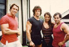 Arnold Schwarzenegger with Sylvester Stalonne, Franco Columbo.