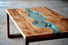 Live Edge Wood Coffee Table with Glass River 2 | Playa Del Carmen Rustic Industrial Lamps & Furniture