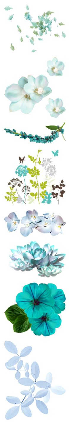 """""""light blue and turquoise"""" by aliceridler ❤ liked on Polyvore featuring flowers, backgrounds, effect, moon, filler, home, home decor, wall art, fillers and effects"""