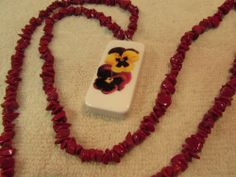 "Yellow & Red Pansies Domino Necklace Jewelry On A 33"" Chain of Fire Red Stones #Handmade #Chain"