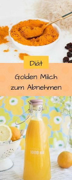 You want to lose weight with golden milk? No problem. I'll show you how easy it works. The vegan golden milk with turmeric is currently the trend drink. No wonder, it has low calories, tastes delicious and is incredibly healthy. Milk Recipes, Healthy Recipes, Good Food, Yummy Food, Smoothie Detox, Smoothies, Keeping Healthy, Calories, Detox Drinks