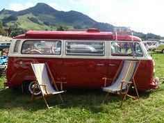 campervan with deckchairs