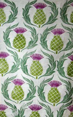 Scottish Thistle hand printed linen