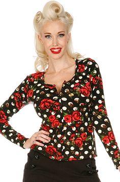 Voodoo Vixen Rose Polka Dot Women's Cardigan, £19.99    http://www.attitudeclothing.co.uk/product_32314-68-2402_Voodoo-Vixen-Rose-Polka-Dot-Women%27s-Cardigan.htm