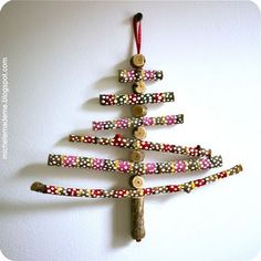 fun Christmas ornament project using collected sticks and twigs. so cute! Great gift for  grandparents, too!