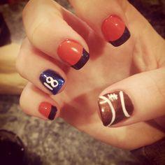 Broncos nails yay for the Super Bowl Shellac Designs, Nail Designs, Broncos Nails, Finger Painting, Denver Colorado, Denver Broncos, Nails Inspiration, How To Do Nails, Hair And Nails