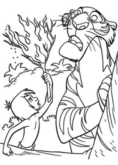 Mowgli and Shere Khan The jungle book coloring pages for kids, printable free