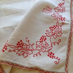 A small valance or curtain made from a pale beige linen. red hand- embroidered of vine leaves and bunches of grapes. Hand Embroidery Dress, Flower Embroidery Designs, Embroidery Works, Hand Embroidery Stitches, Modern Embroidery, Vintage Embroidery, Ribbon Embroidery, Floral Embroidery, Cross Stitch Embroidery