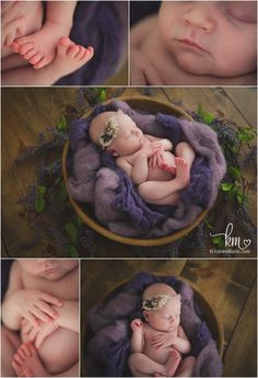 features on newborn baby girl - purple and brown