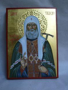 St. Tikhon hand painted orthodox icon created by Bulgarian artist Georgi Chimev