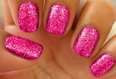 Summertime... Magenta Glitter Nails <3