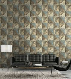 For the decor look that is inspired by the industrial movement select a design with the patina of metal with a geometric design. Industrial Interiors, Industrial Chic, Wallpaper Suppliers, Diamond Wallpaper, New York Loft, Paper People, Home Wallpaper, Main Colors, Designer Wallpaper