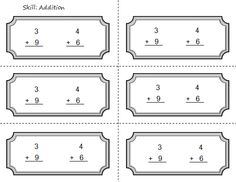 ticket out the door math activities | Common Core First Grade Math Ticket Out Assessment Addition