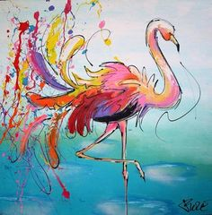 Staande flamingo (Standing flamingo), a Palette Knife Painting on Artdeals Watercolor Bird, Watercolor Animals, Watercolor Paintings, Watercolors, Flamingo Painting, Flamingo Art, Fabric Painting, Painting & Drawing, Knife Painting