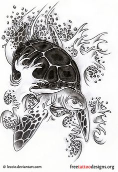 Turtle tattoo idea · Turtle and waves tattoo design ...