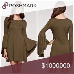bell sleeve swing dress in deep olive In autumn's hot color this deep Olive dress has exaggerated bell sleeves in a swing style! Dresses