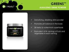Greens - one of my favorite products.  Alkalize * Ph Balance * Detox YOUR BODY!  www.getwrapwithniki.com