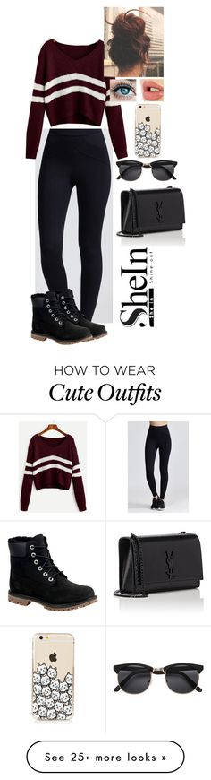 """School Outfit"" by crashwegener on Polyvore featuring Timberland, Charlotte Tilbury, H&M and Yves Saint Laurent"