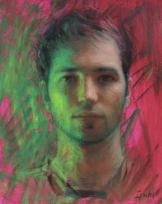 Ignat Ignatov (Bulgarian: 1978) - Self Portrait in Green and Magenta