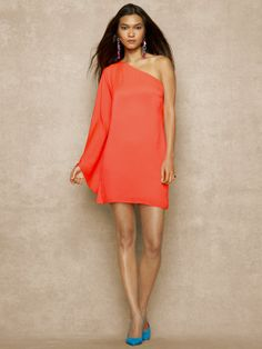 Date night :) One-Shoulder Satin Dress - Short Dresses   Dresses - RalphLauren.com