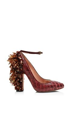 bdf500c81fa Bordeaux Pirarucu Embellished Pump by Rochas for Preorder on Moda Operandi  Embellished Heels