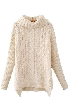 Cream-colored High Collar Batwing Sleeves Sweater