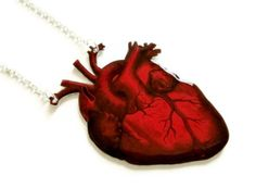 Large Anatomical Heart Necklace Red Vintage by TheSpangledMaker