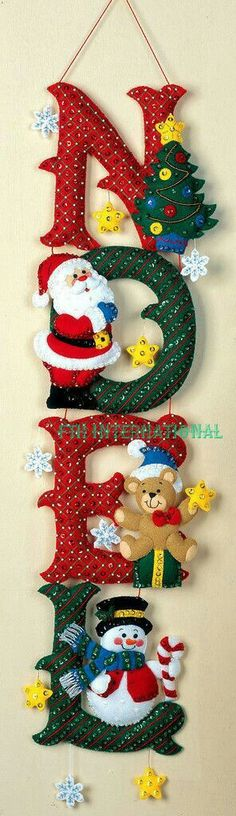 Bucilla NOEL ~ Felt Christmas Wall Hanging Kit Santa, Frosty, Teddy Bear in Crafts, Cross Stitch, Kits Christmas Projects, Felt Crafts, Holiday Crafts, Felt Christmas Ornaments, Christmas Stockings, Diy Ornaments, Beaded Ornaments, Glass Ornaments, Christmas Makes