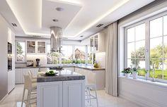 Willa Parkowa 6 on Behance Four Bedroom House Plans, House Outside Design, Brick Exterior House, One Storey House, Modern Style House Plans, House Extension Design, House Plans Mansion, Beautiful House Plans, Luxury House Designs