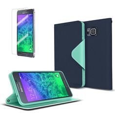 Cellto Samsung Galaxy Alpha Premium Wallet Case with HD Screen Protector [Dual Magnetic Flap] Diary Cover /w ID Pocket ( Navy Mint ) + Life Time Warranty:Amazon