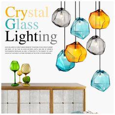Beleuchtung - Deckenleuchten - Pendelleuchten - Modern Bunte Glas Penddelleuchte 3 flammige Grau/Orange/Blau