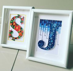 S & J quilled initials in frames